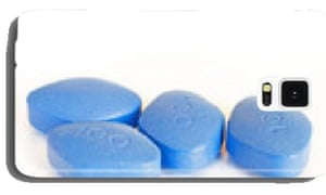 'Blue pills for erectile dysfunction treatment – white background'.