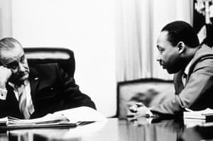 President Johnson discusses the Voting Rights Act with Martin Luther King. Seven years ago the act was rendered toothless by a supreme court case.