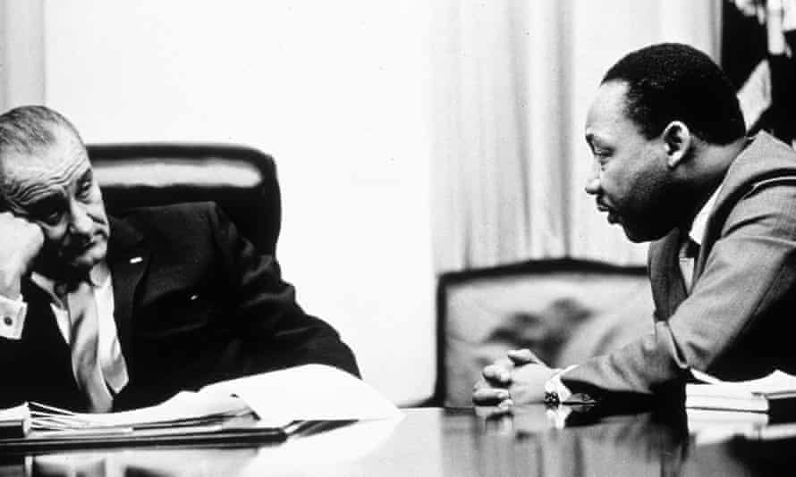 Lyndon B Johnson discusses the Voting Rights Act with Martin Luther King Jr.
