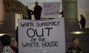 A protest against appointment of 'white nationalist' Steve Bannon to be Trump's chief strategist