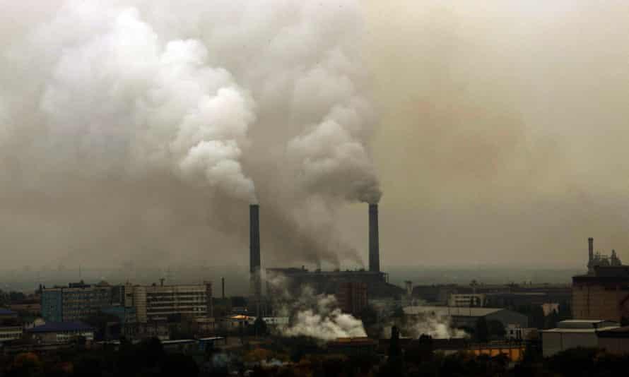 Smokestacks in Dniprodzershynsk, Ukraine.