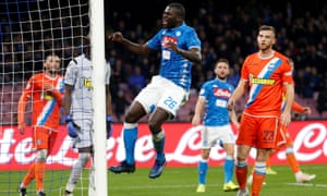 Napoli's Kalidou Koulibaly (centre) during a match against San Paolo.