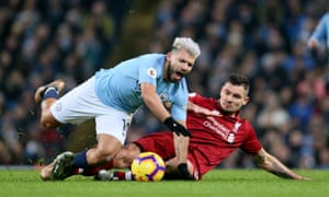 Dejan Lovren was booked for bringing down Sergio Agüero, who subsequently beat the Liverpool defender for Manchester City's first goal