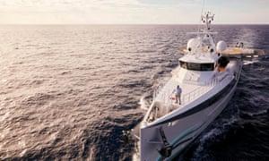 Sir David Attenborough on a ship