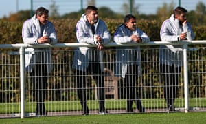 Mauricio Pochettino and his coaching staff watch a youth team game between Tottenham and Leicester.
