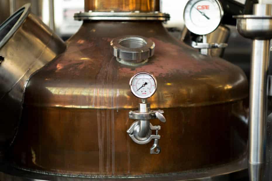 A copper still pot at Hangar 1 distillery in Alameda, California.