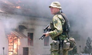 An Australian soldier in Dili, East Timor, in 1999