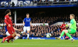 Mohamed Salah sees his shot saved by Everton's Jordan Pickford