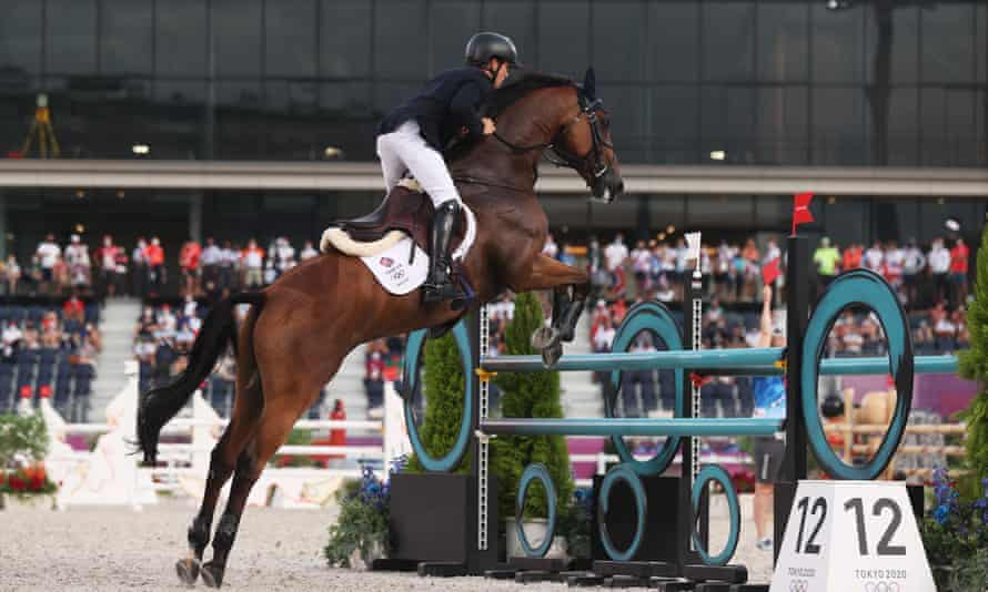 Tom McEwen of Team GB riding Toledo de Kerser during the eventing jumping team final.
