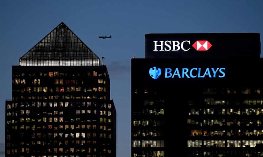 HSBC and Barclays bank in the Canary Wharf