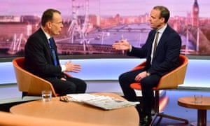 Dominic Raab speaking with Andrew Marr on the BBC