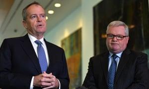 The shadow minister for government services, Bill Shorten, and Gordon Legal senior partner Peter Gordon.