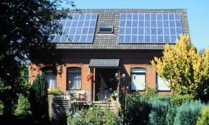A house with solar panels.