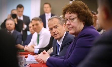 Opposition leader Bill Shorten leads a shadow cabinet meeting.