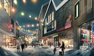 An artist's impression of a shopping street in the new city.