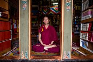 Lama Karma in meditation at Tango Monastery, close to Thimphu