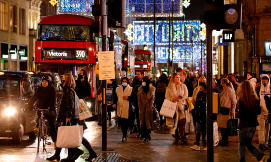 Oxford Street in central London on December 14, 2020.