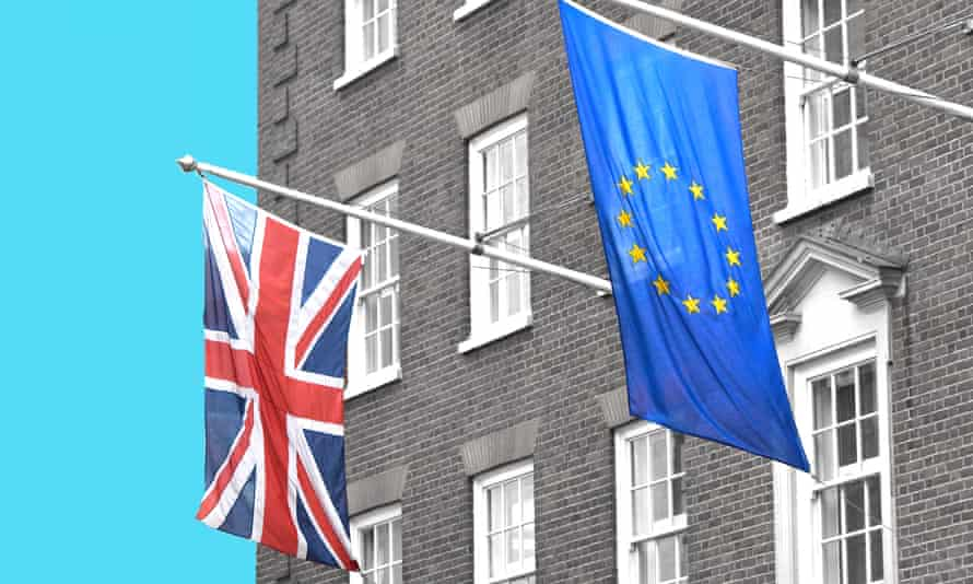 The British and European flags fly outside the European Parliament Office