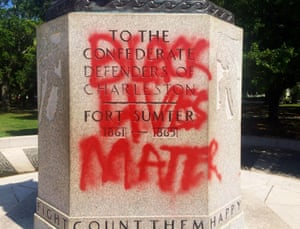 A statue commemorating the Confederacy spray-painted with the message 'black lives matter' in Charleston, South Carolina