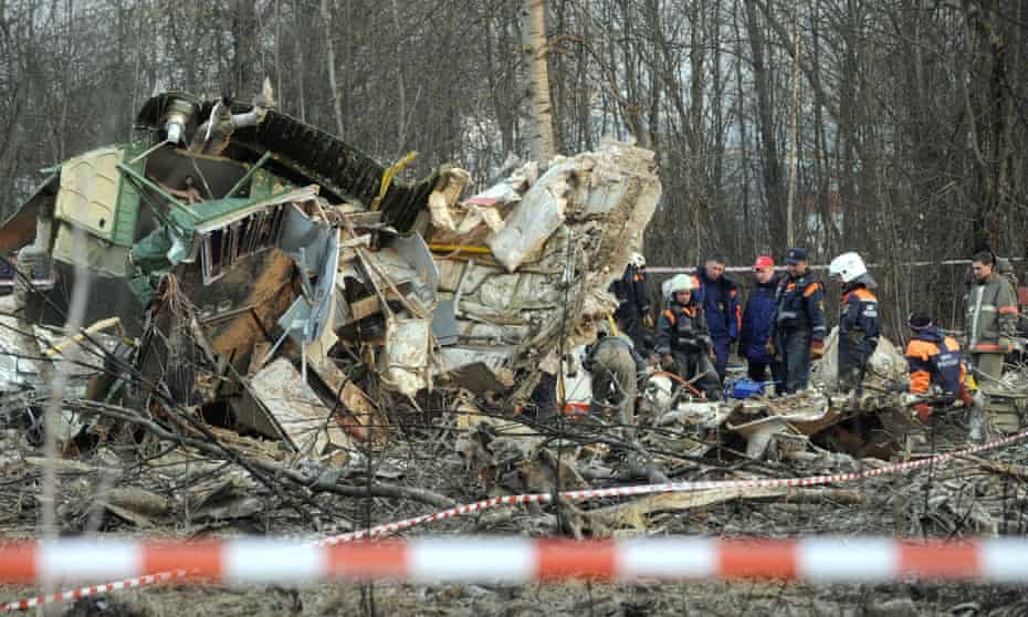 Russian emergency services at the site of the Smolenks plane crash