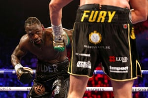 Deontay Wilder in action against Tyson Fury in the WBC heavyweight title fight at the MGM Grand