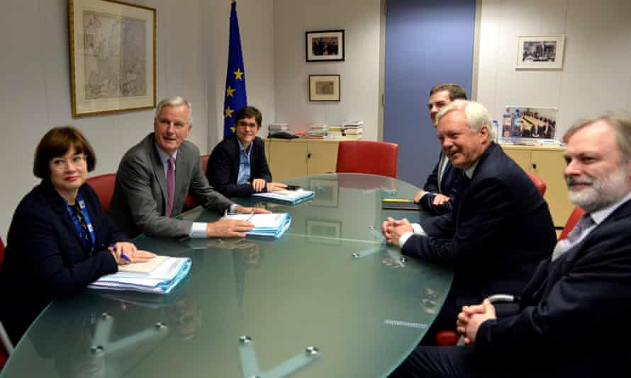 Barnier, Davis and their delegations at a meeting in Brussels.