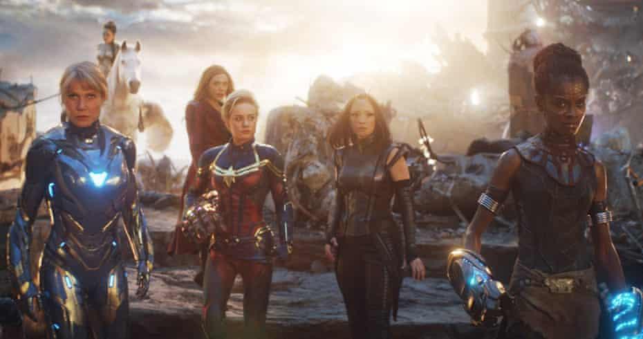 (L-R) Gwyneth Paltrow, Elizabeth Olsen, Brie Larson, Pom Klementieff and Letitia Wright in Avengers: Endgame.