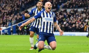 Aaron Mooy celebrates scoring Brighton's second goal against Bournemouth with Alireza Jahanbakhsh