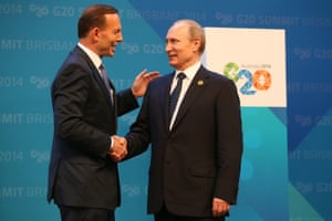 15 November 2014: 'Look, I'm going to shirtfront Mr Putin ... I am going to be saying to Mr Putin [that] Australians were murdered. They were murdered by Russian-backed rebels using Russian-supplied equipment.'<em> </em>The PM used those words ahead of his meeting with the Russian leader at G20, in reference to the downing of flight MH17 over eastern Ukraine in July – an incident which killed 38 Australian citizens and residents. In AFL terms, 'shirtfront' means a brutal shoulder charge. His comments drew derision, and there was no signs of hostility as Abbott and Putin greeted one another at G20.