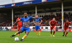 Shrewsbury's Stefan Payne scores a penalty to equalise against Walsall.
