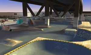 A render of the Burnside level in Tony Hawk's Pro Skater.