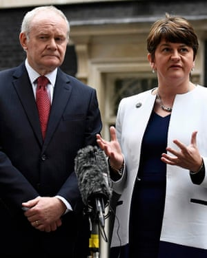 Arlene Foster and Martin McGuinness, first and deputy first ministers, leaving 10 Downing Street, London, in October 2016.