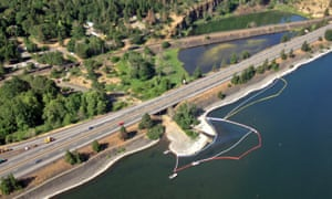 oil slick on the surface of the Columbia River
