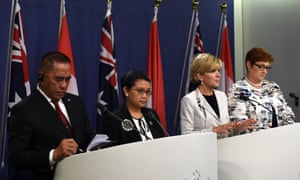 Australian defence minister Marise Payne, Australian foreign minister Julie Bishop, Indonesian foreign minister Retno Marsudi and Indonesian defence minister Ryamizard Ryacudu in Sydney.