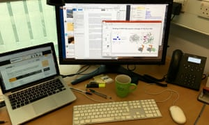 The desk of a scientist at work