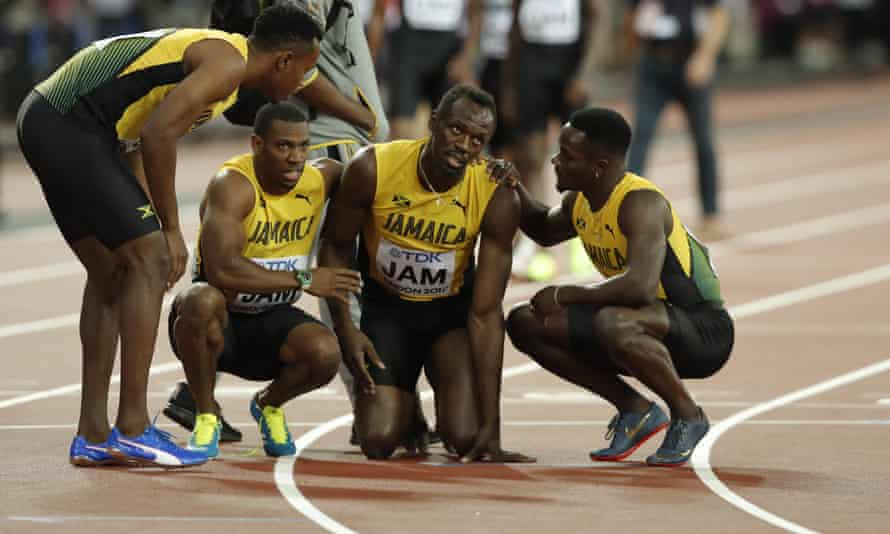 Usain Bolt after pulling up injured during the men's 4x100m relay.