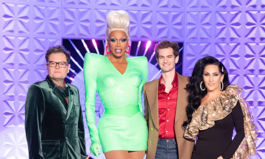 (L-R) Alan Carr, RuPaul, Andrew Garfield and Michelle Visage