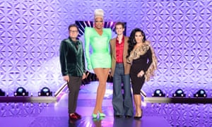 Alan Carr, RuPaul, Andrew Garfield and Michelle Visage in Ru Paul's Drag Race UK.