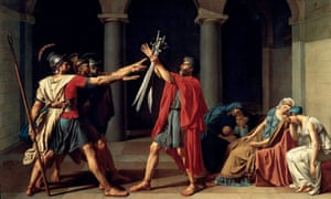 The Oath of the Horatii by Jacques-Louis David, who narrowly escaped execution under Robespierre.