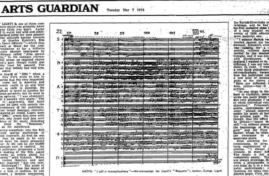 The manuscript for György Ligeti's Requiem. The Guardian, 7 May 1974.