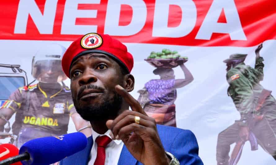 Robert Kyagulanyi, known as Bobi Wine, addresses a news conference in Kampala