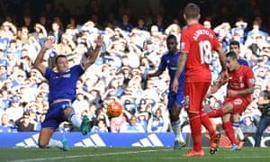 Despite John Terry's acrobatics, Liverpool's Philippe Coutinho scores the equalising goal.