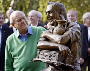 13 September 2005. Palmer looks at a statue of himself commemorating the 50th anniversary of his first PGA tour win in 1955 at the Weston Golf and Country Club in Toronto.