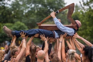 Budapest, Hungary: A performance entitled Halab by the Spanish Sol Pico group at the Sziget festival on Shipyard Island