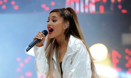 Ariana Grande performing in 2016 – the singer returned to the stage in Paris this week.