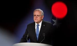 Prime minister Scott Morrison speaks to the media in Sydney, 19 April 2021.