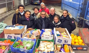 Arash Derambarsh (centre) began his drive to fight food waste and food poverty in Courbevoie, north-west of Paris.