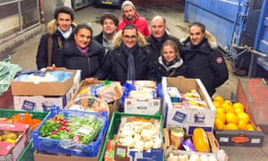 In May Arash Derambarsh (centre) succeeded in persuading the French government to pass a law  forcing supermarkets to donate products near their sell-by date to charities.
