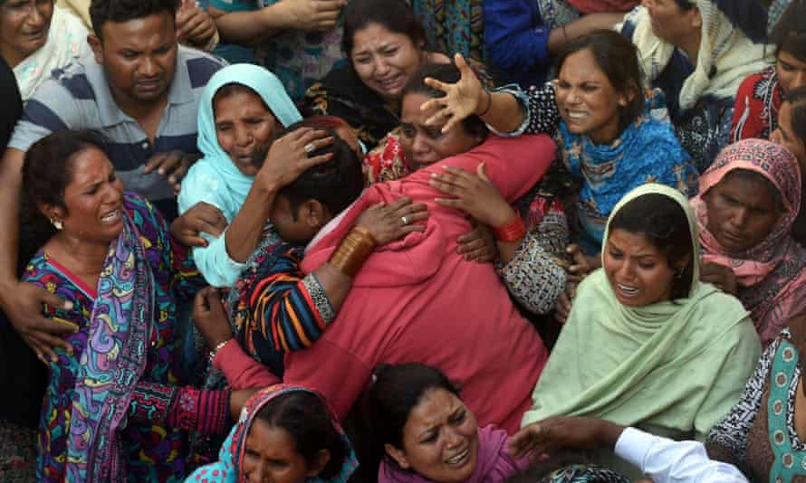 Pakistani Christians mourn at a funeral for a victim of the Easter Sunday suicide bombing in Lahore.