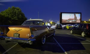 A drive-in screening at Alexandra Palace in north London.